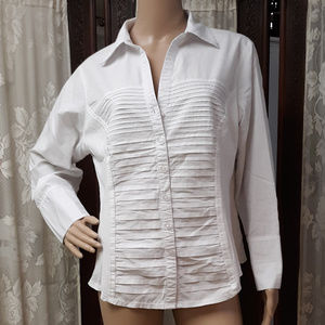 Signature By Larry Levine White Pin-tucked Blouse